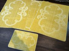 ROMANY GYPSY WASHABLES MATS SET OF 4 MATS/RUGS XXLARGE 100X140CM SUMMER LEMON